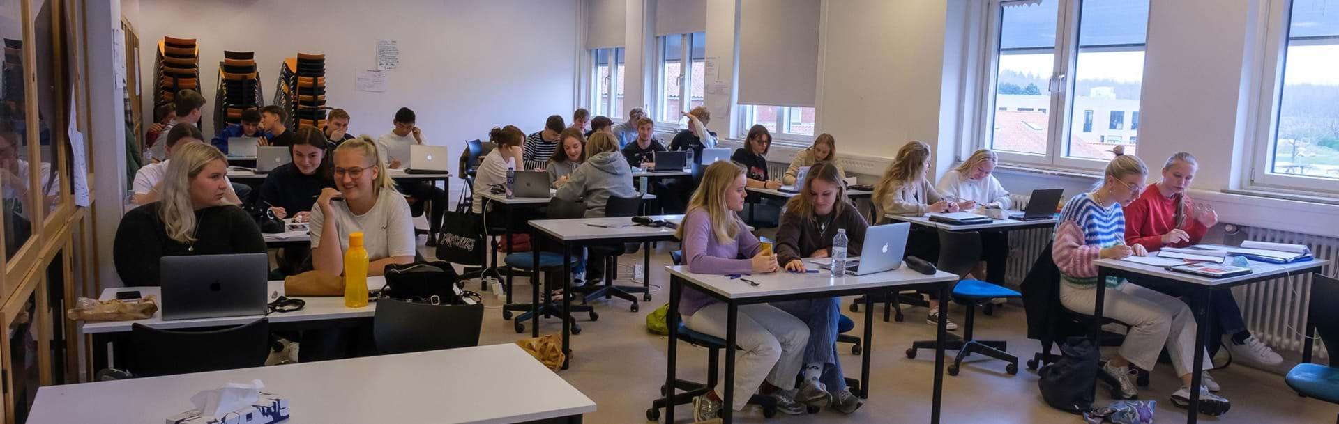 En hel klasse sidder i klasselokalet og alle laver gruppearbejde