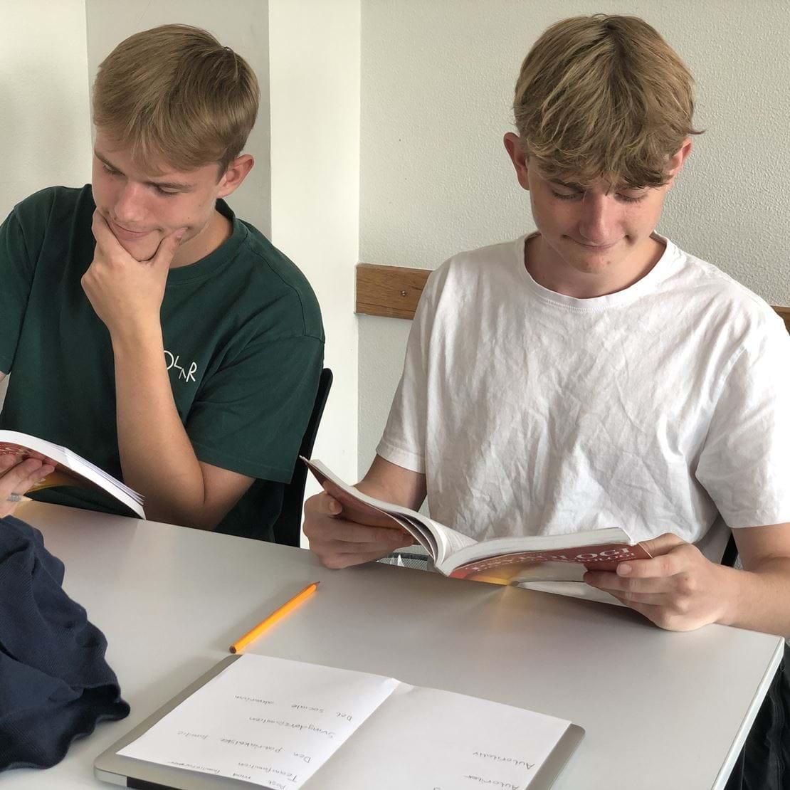 To drenge læser i psykologibog